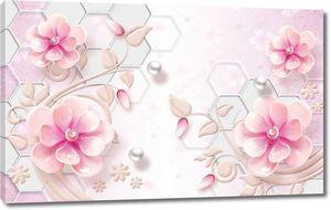 Розовый фон с шестиугольниками, розовые цветы