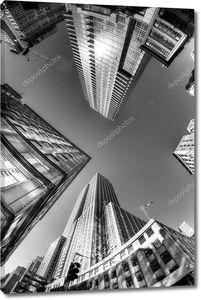 Глядя вверх, раз сквер, Нью-Йорк, США, черный и белый