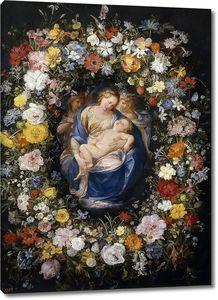 Брейгель Ян (Старший). Мадонна с Младенцем и двумя ангелами в цветочной гирлянде (фигуры Джулио Чезаре Прокаччини)
