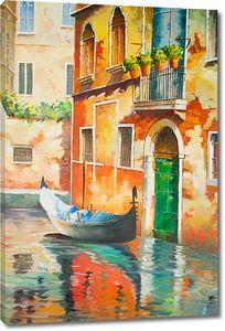 Лодка возле дома в Венеции