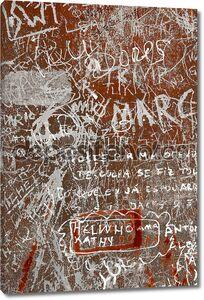Надписи на ржавых металлических поверхностях