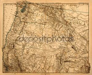 Старая карта Северо-Западной Америки.
