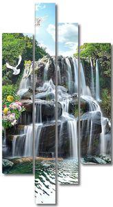 Водопад в горной местности
