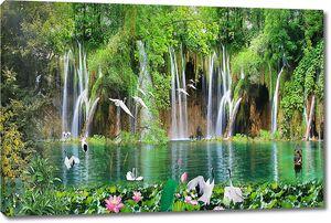 Водопад падающий в озеро