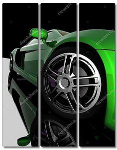 Крупным планом колес машины на черном фоне