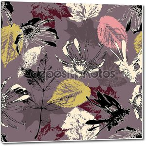 Art sketching floral seamless pattern background