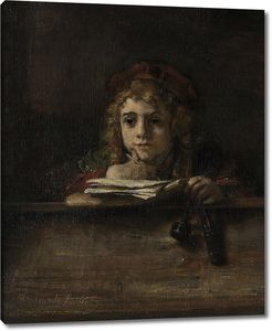Рембрандт. Сын художника Титус за партой