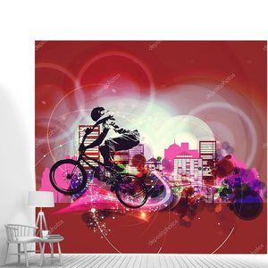 BMX байкер на абстрактном фоне