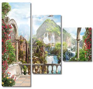 Вид с террасы на водопады