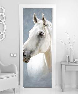 Портрет белой лошади