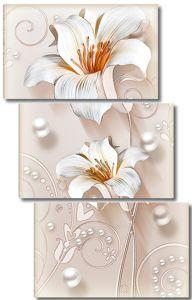 Лилии с жемчужными бусинами