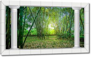 Бамбуковые кусты с колоннами по краю