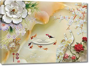 Павлины цветы и рыбки