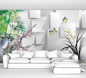 Цветущая ветка, бамбук, большие бабочки