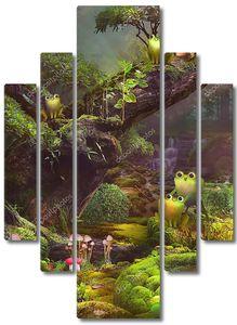 Сказочный лес с лягушками