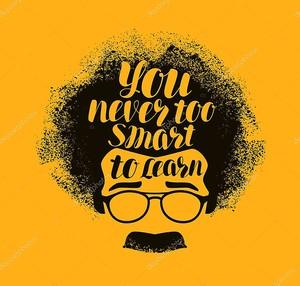 Концепция образования. Вы никогда не слишком умный, чтобы узнать, рукописные надписи. Векторные иллюстрации