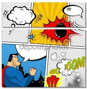 Векторные ретро комиксов речи пузыри иллюстрации. Макет страницы комиксов с местом для текста, речи Bubbls, символы, звуковые эффекты, Цветные полутона фон и супергероя