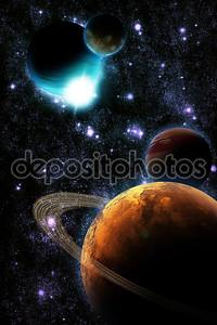 Абстрактный планеты с солнечной вспышки в глубоком космосе - звезды туманности снова