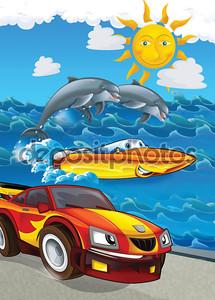 Машинка на фоне моря