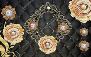 Черная позолоченная обивка, большие розы с жемчугом и жемчужно-золотистые абстрактные цветы