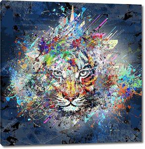 Тигр разноцветный портрет
