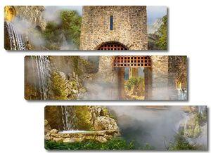 Внутри замка с водопадами
