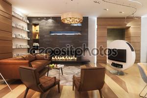 гостиная с кожаным диваном и креслом у камина