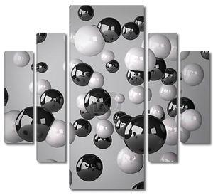 Абстрактный серый фон из белых и черных сфер