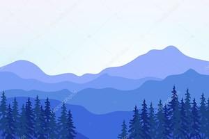 Вид из голубых гор с лесом