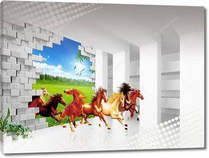 Бегущие лошади из пролома в стене