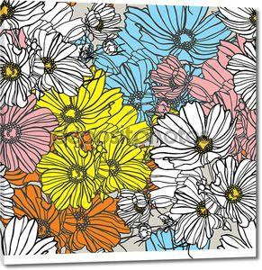 Элегантность бесшовный фон с цветами ромашки