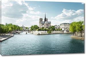 Сена и Нотр-Дам де Пари, Париж, Франция