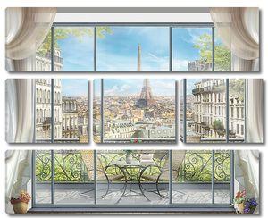 Вид на балкон и Эйфелеву башню