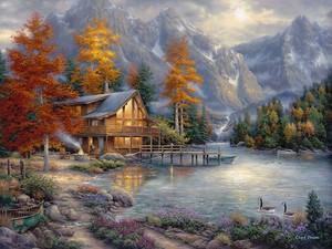 Домик у озера в горах