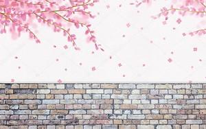 Цветущая ветвь над кирпичной стеной