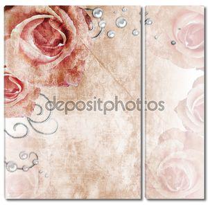 Красивая свадьба фон с розами и жемчуг