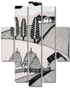 сельские пейзажи в черно-белом