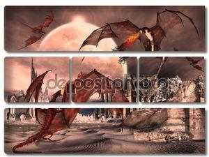 Фантазия сцена с драконы - Компьютерная картина