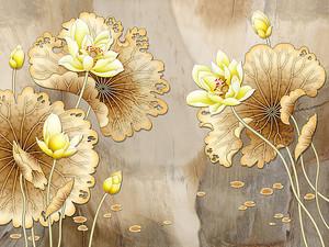 Лотосы с волнистыми листьями