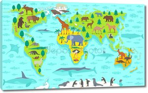 Забавный мультяшный карта мира