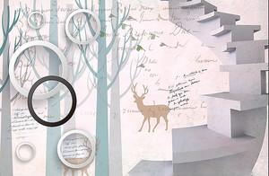 Лестница на фоне стены с надписями