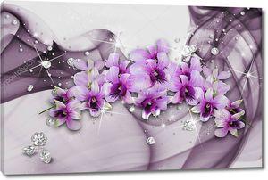 Орхидеи  со стразами на абстрактном фоне