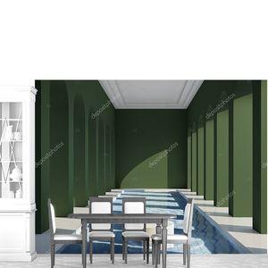 Бассейн в холле с колоннами