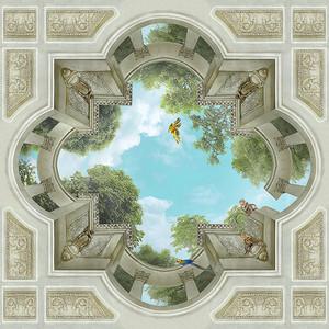 Вид в небо с колоннами