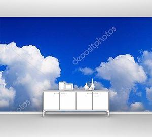 Панорама белые облака в синем небе