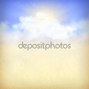 фон голубое небо, белые облака и солнце