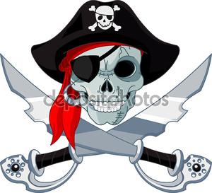 Пиратский череп на белом фоне