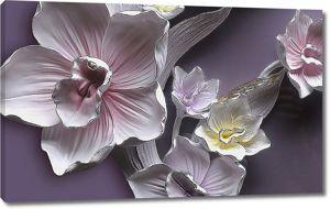 Крупные цветы из фаянса
