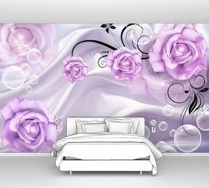 Розовые розы на ткани