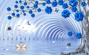 Голубые своды с розами